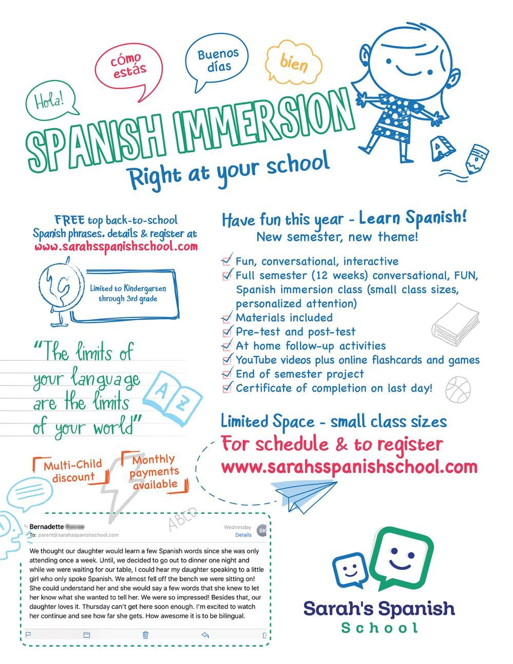Spanish School Flyer Fall 2019