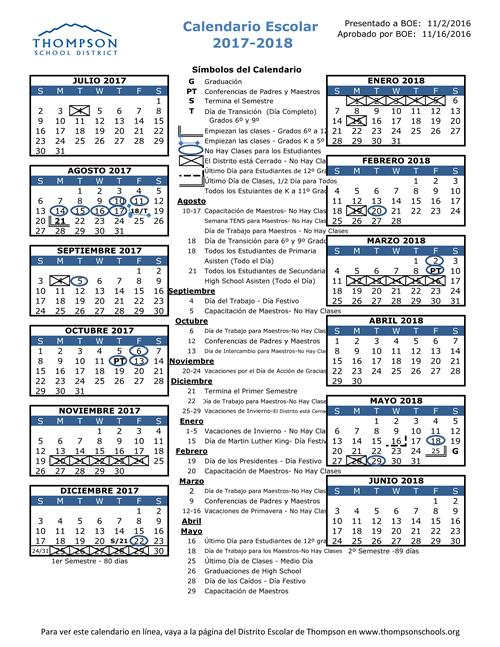 District Calendar SP