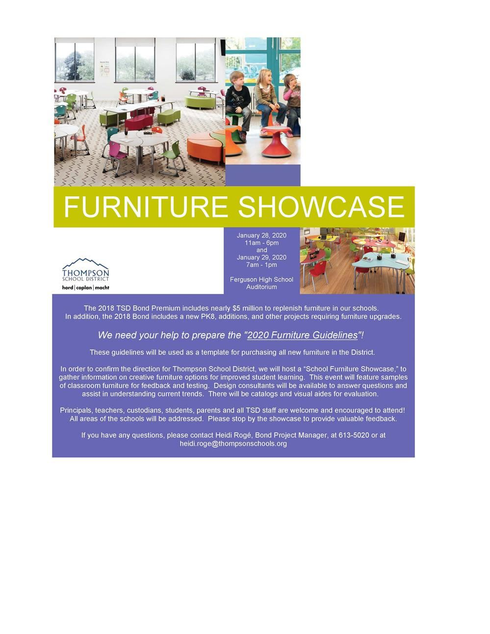 Furniture Showcase ~ January 28th and January 29th