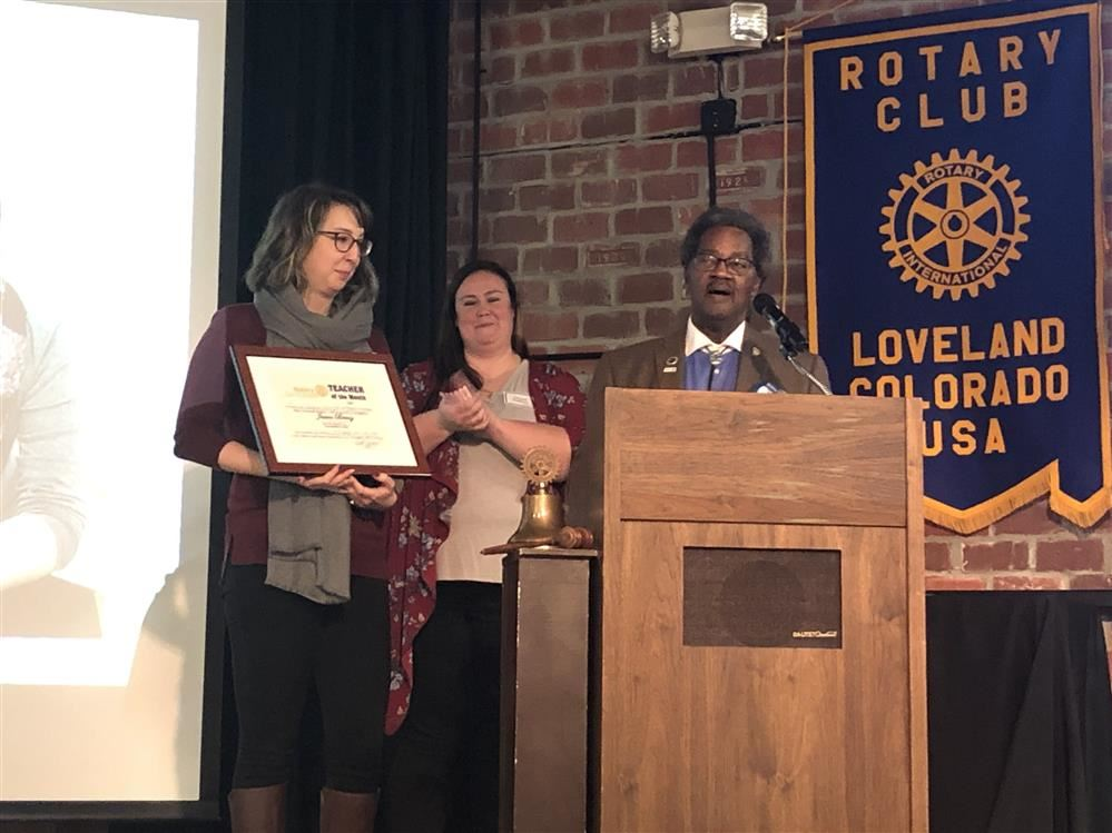 Jessica Mueller was chosen as the Rotary Teacher of the Month for December.  Way to go Ms. Mueller!!!