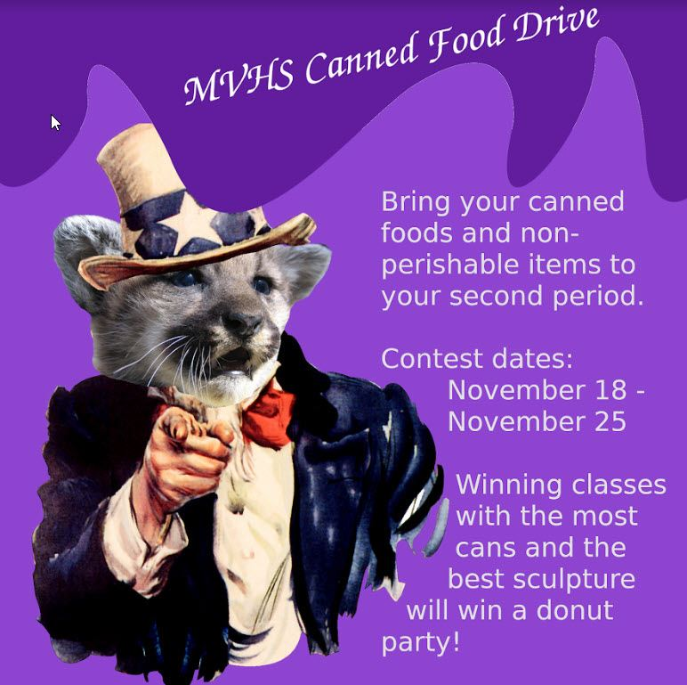 MVHS Canned Food Drive - November 18, 2019 to November 25, 2019