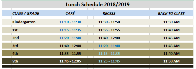 Lunch Schedule 2018/2019
