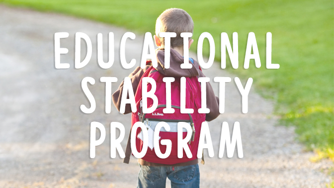 Kid with Backpack - Educational Stability Grant