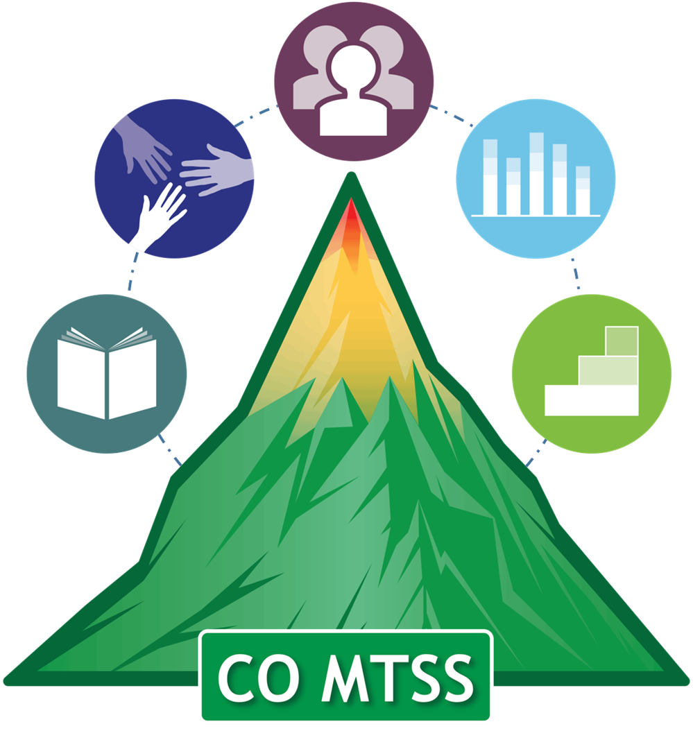 This is the logo for the CO-MTSS framework. It's a mountain that has green at bottom, yellow in middle, and red top.