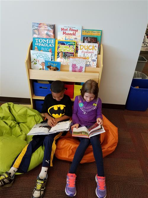 Reading in the Bean Bags