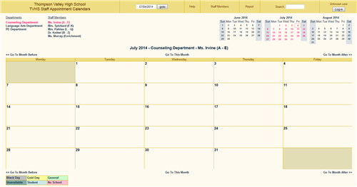 Staff Appointment Calendar